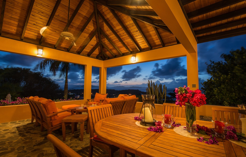 Photo wallpaper view, chairs, tables, Veranda, lamps