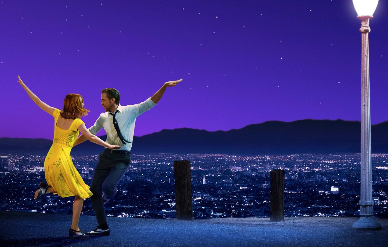 Photo wallpaper the sky, girl, stars, mountains, night, the city, lights, dance, pair, costume, panorama, lantern, guy, …