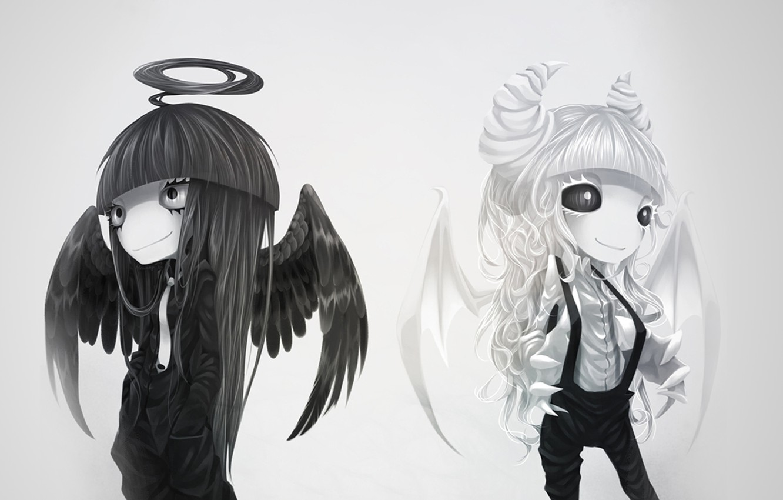 Photo wallpaper white, black, wings, Angel, the demon, horns, halo