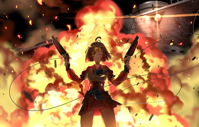Photo wallpaper girl, weapons, fire, guns, explosions, anime, art, greetload, koutetsujou no kabaneri