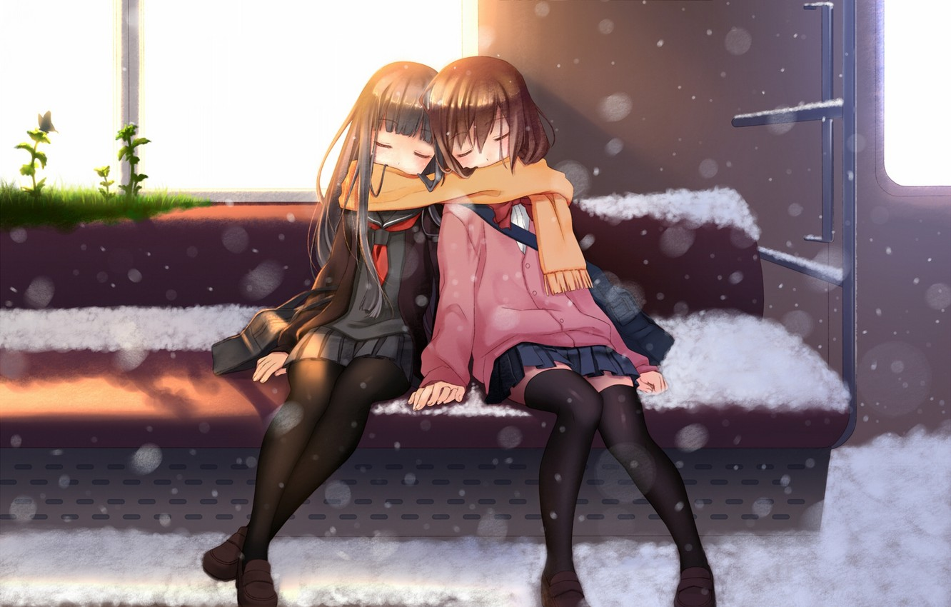 Photo wallpaper grass, the sun, snow, girls, butterfly, train, anime, scarf, art, the car, Schoolgirls, seat, nana ...