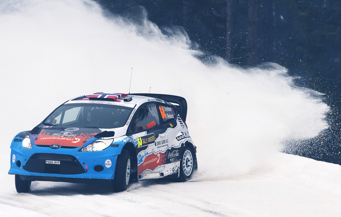 Photo wallpaper Ford, Snow, Turn, Skid, Rally Sweden, WRC, Rally, Fiesta, The front