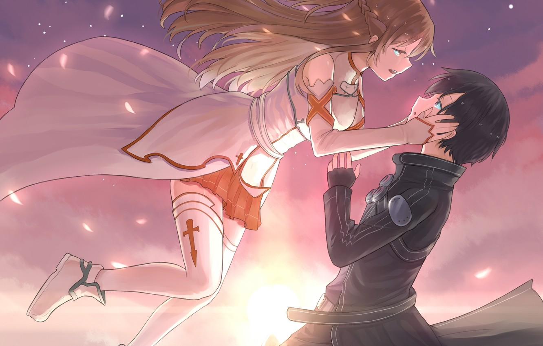 Photo wallpaper the sky, girl, clouds, sunset, anime, petals, drop, art, guy, two, sword art online, yuuki ...