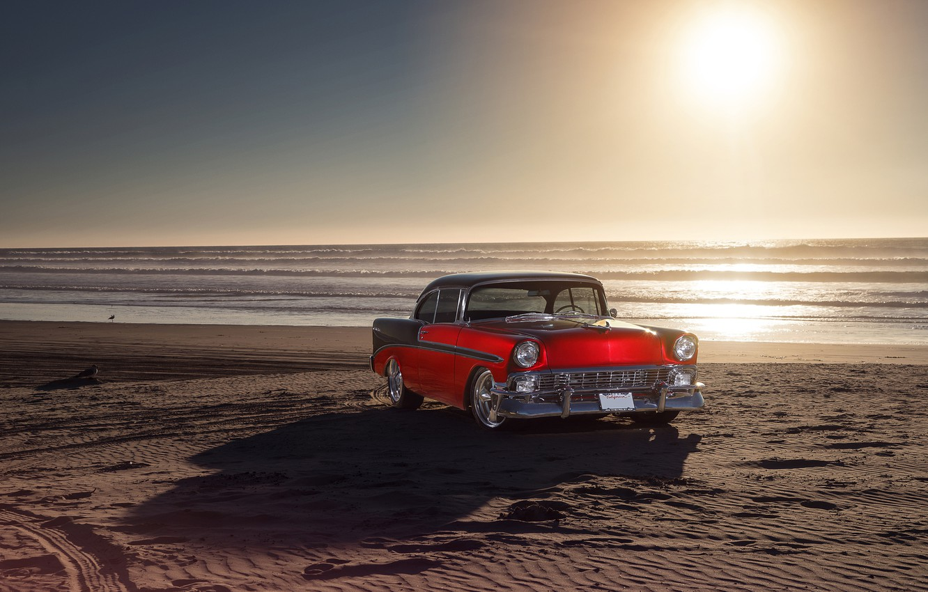 Photo wallpaper Chevrolet, Red, Car, Front, Bel Air, Sun, Water, Old, Summer, Sea, 1956
