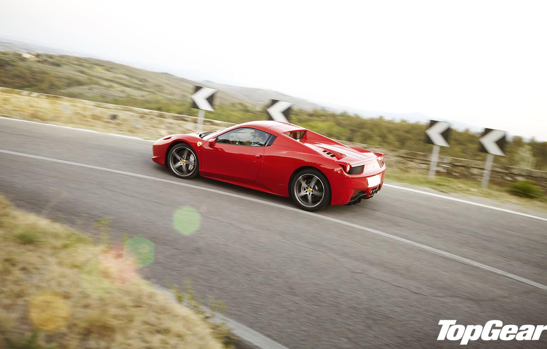 Photo wallpaper road, red, view, turn, Ferrari, supercar, Ferrari, 458, side, top gear, Italy, spider, the best …