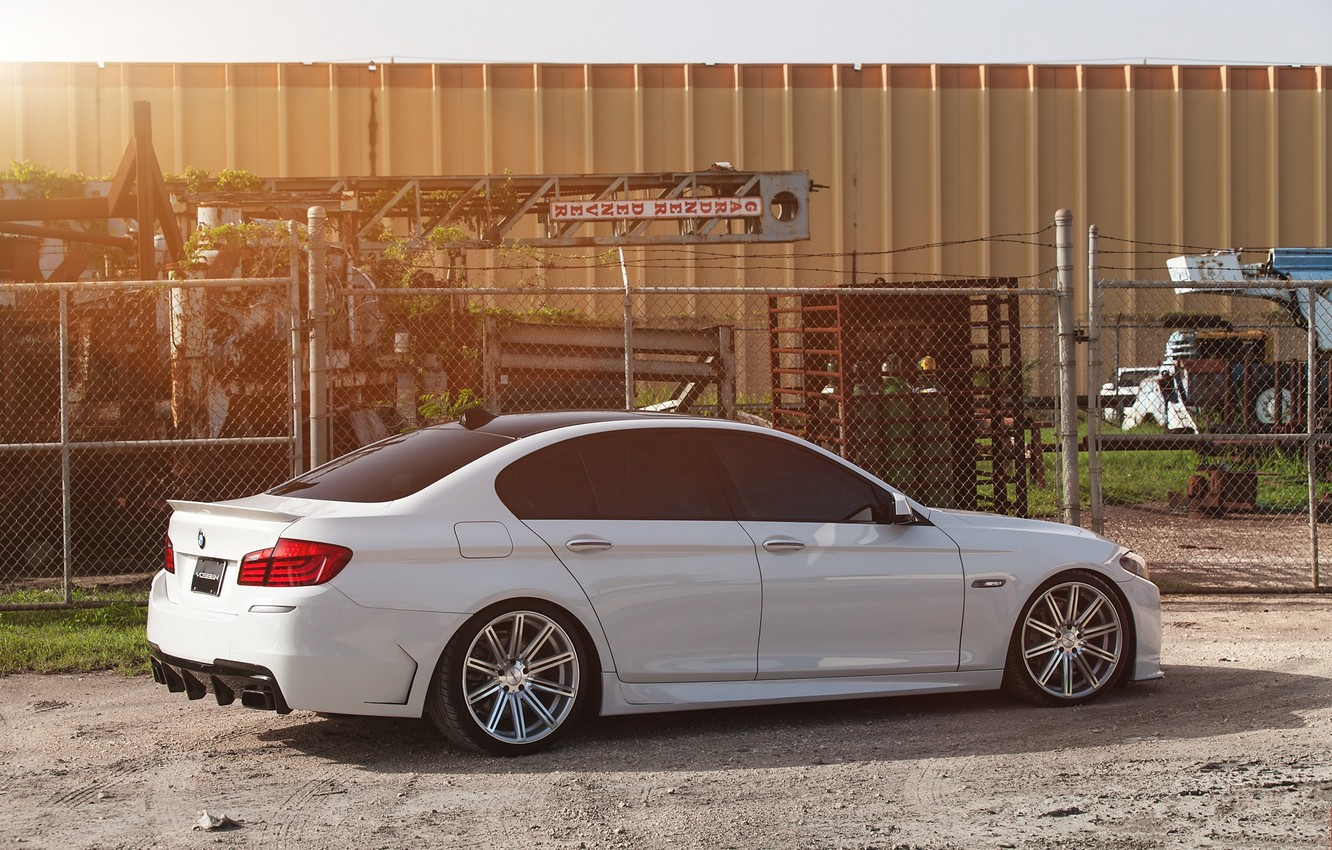Photo wallpaper white, tuning, bmw, BMW, shadow, the fence, white, side view, f10, 550i