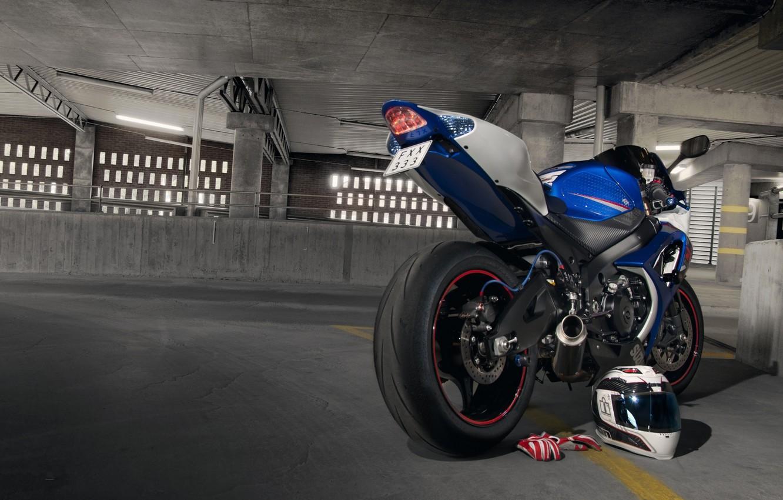 Photo wallpaper blue, motorcycle, gloves, helmet, Parking, suzuki, blue, Suzuki, gsx-r1000