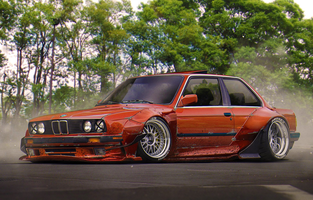 Photo wallpaper BMW, Red, Tuning, Future, E30, Stance, by Khyzyl Saleem
