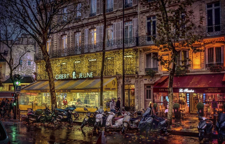 Photo wallpaper Paris, motorcycles, Quartier Latin