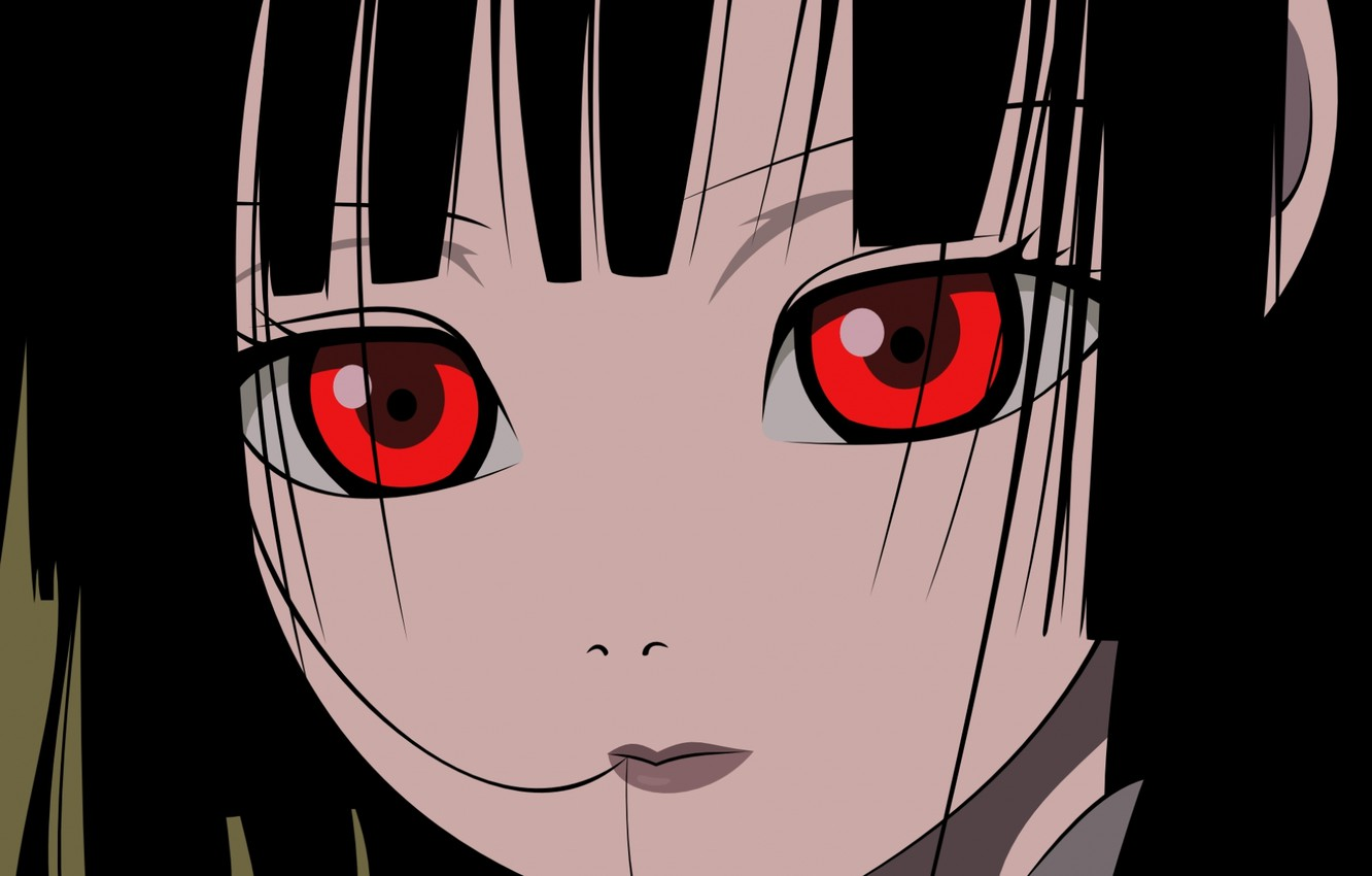Photo wallpaper look, close-up, face, red eyes, bangs, Enma Ai, Jigoku Shoujo, Hell girl, Hell girl