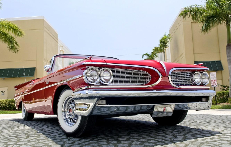 Photo wallpaper Red, Machine, Convertible, Red, Pontiac, Pontiac, Cabrio, Convertible, 1959, Catalina