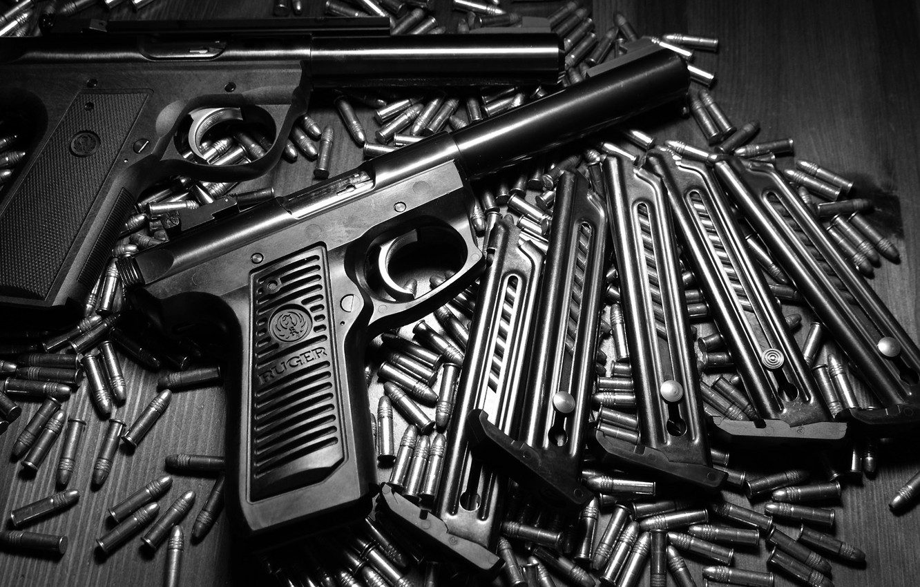 Photo wallpaper weapons, trunk, bullets, Ruger