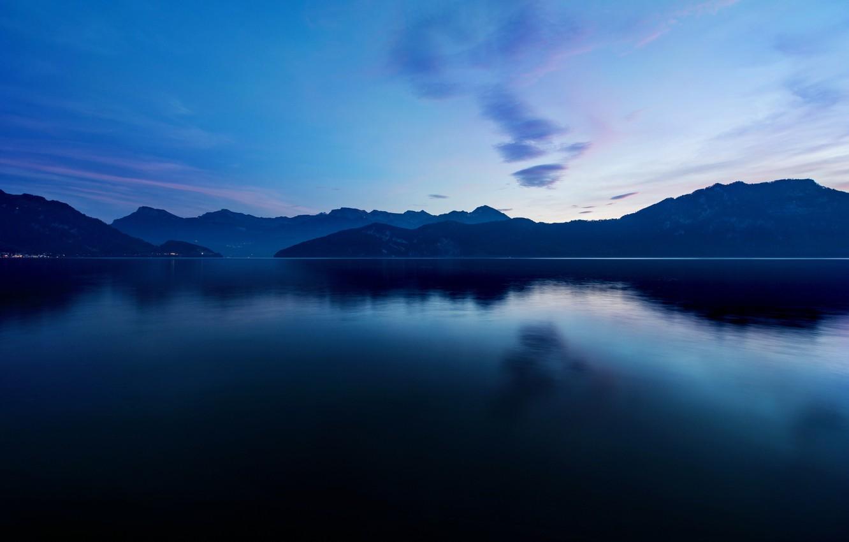Photo wallpaper mountains, lake, surface, twilight