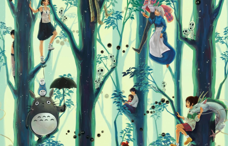 Photo wallpaper anime, Anime, Hayao Miyazaki, Totoro, Princess Mononoke