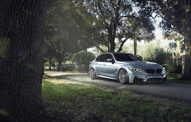 Photo wallpaper BMW, German, Car, Sport, Silver, 2015, F80, M3