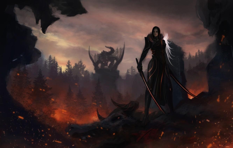 Photo wallpaper look, girl, weapons, fiction, dragon, art, horns, swords