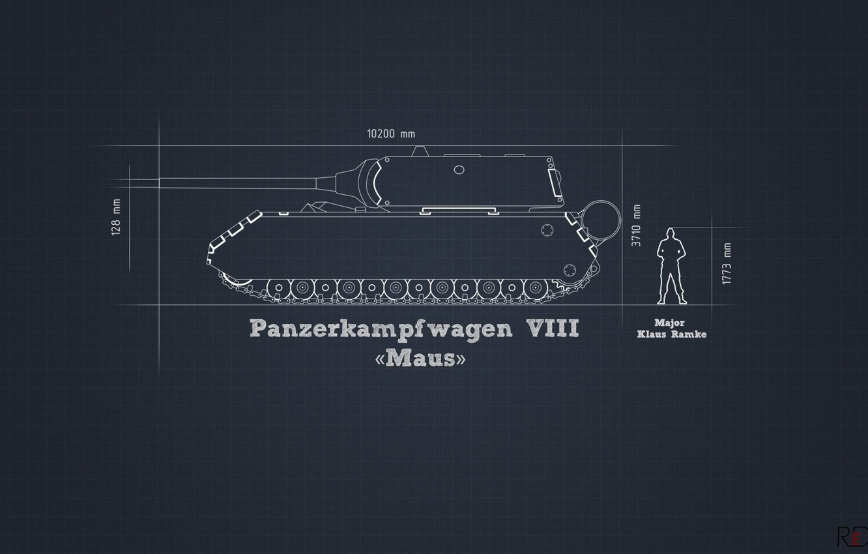 Photo wallpaper information, minimalism, tank, the project, heavy, German, Maus