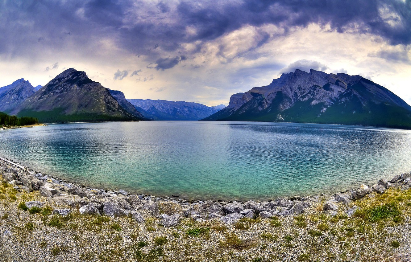 Photo wallpaper Alberta, Canada, Brewing Storms On The Lake