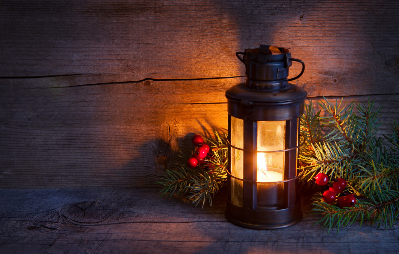 Photo wallpaper winter, light, tree, candle, spruce, branch, New Year, Christmas, lantern, Christmas, holidays, New Year