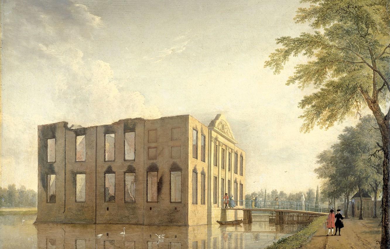 Photo wallpaper landscape, picture, Jan ten Kompe, Castle in Heemstede After the Fire. Side View