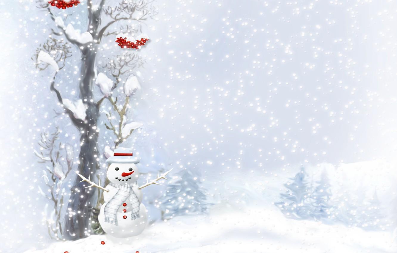 Photo wallpaper berries, tree, buttons, snowman, scarf, tree, snowfall