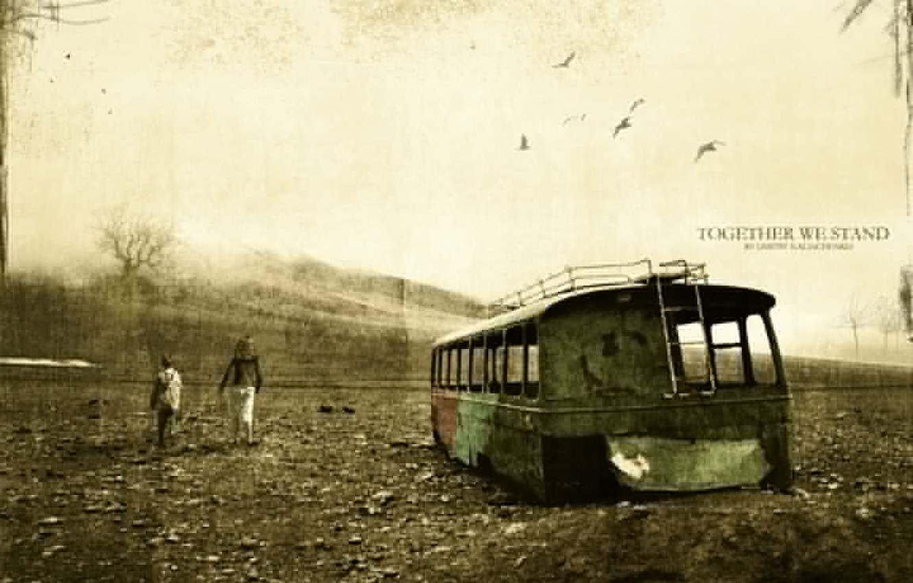 Photo wallpaper old age, rusty bus, together we stand, the power of the spirit, fading