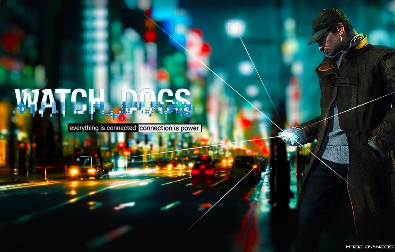 Photo wallpaper gun, rain, the game, man, mask, guy, game, 2012, Watch Dogs, Aiden Pierce, Watchdogs, Aiden …
