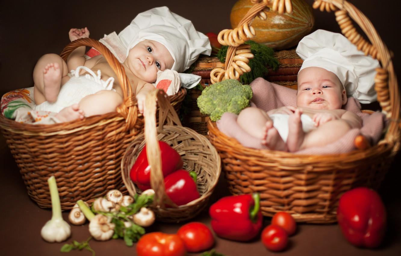 Photo wallpaper children, kids, two, vegetables, lie, bagels, basket, cooks, Anna Levankova