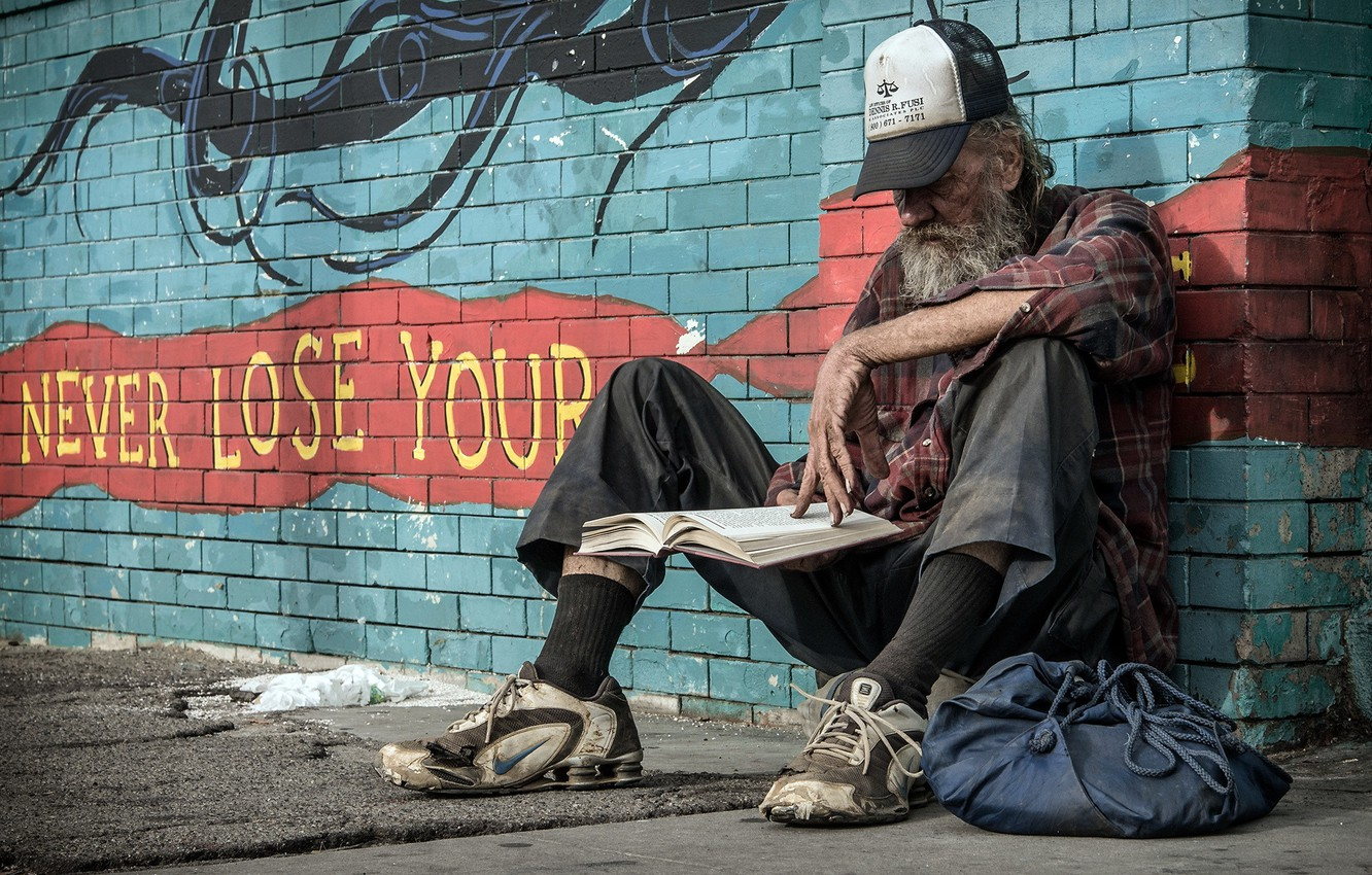 Photo wallpaper street, people, book