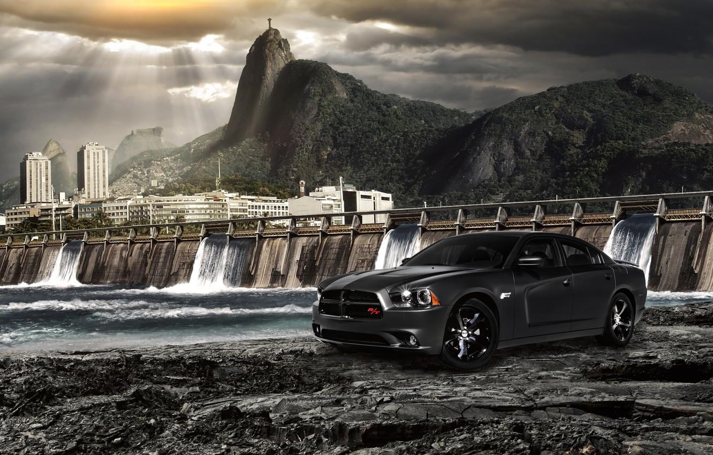 Photo wallpaper water, dam, dodge, charger, fast and furious 5, Fast Five, Rio de Janeiro, Rio de …