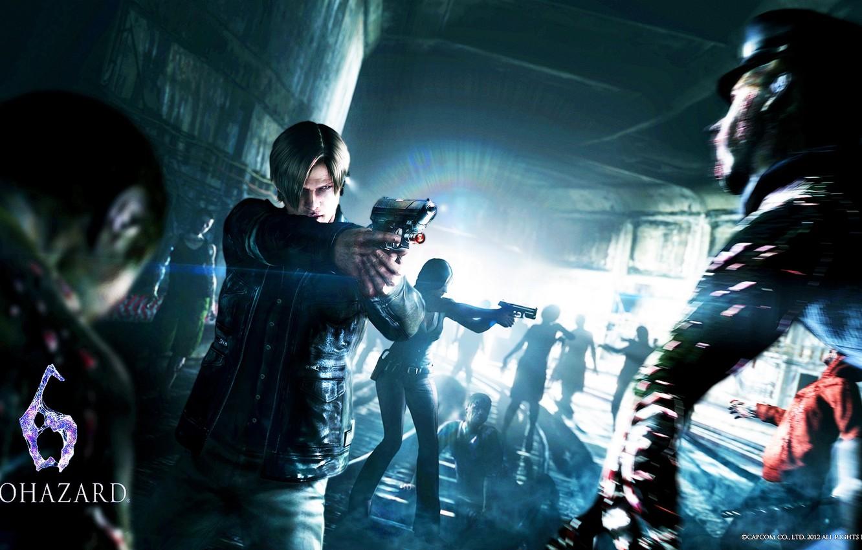 Photo wallpaper gun, rails, zombie, Leon Scott Kennedy, Helena Harper, Leon Scott Kennedy, resident evil 6, apocalypse, …