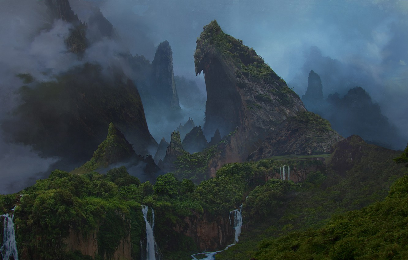 Photo wallpaper forest, mountains, island, waterfall, the volcano, Uncharted 4