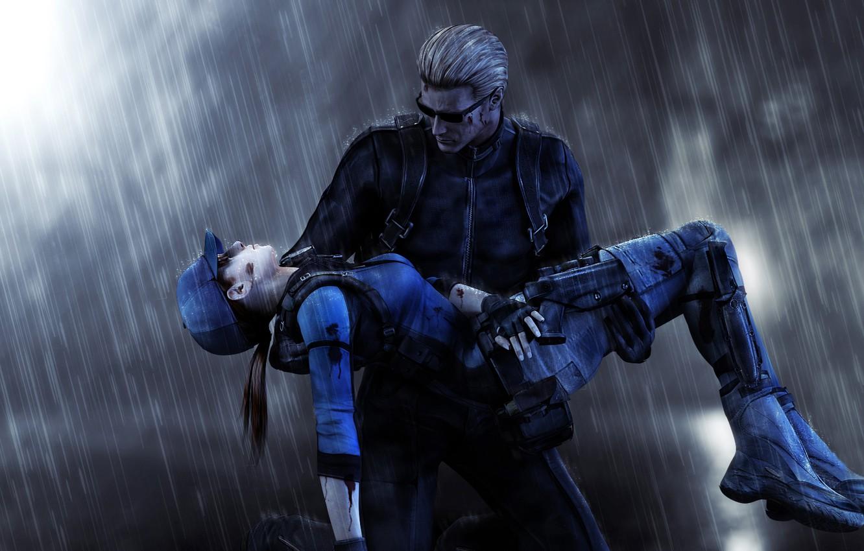 Wallpaper Rain Fanart Jill Valentine Resident Evil 5 Albert