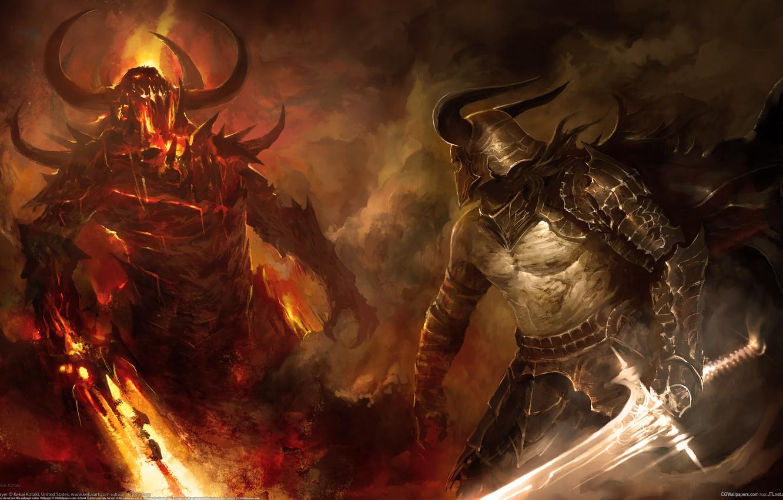 Photo wallpaper fire, the demon, warrior, battle, swords, fight