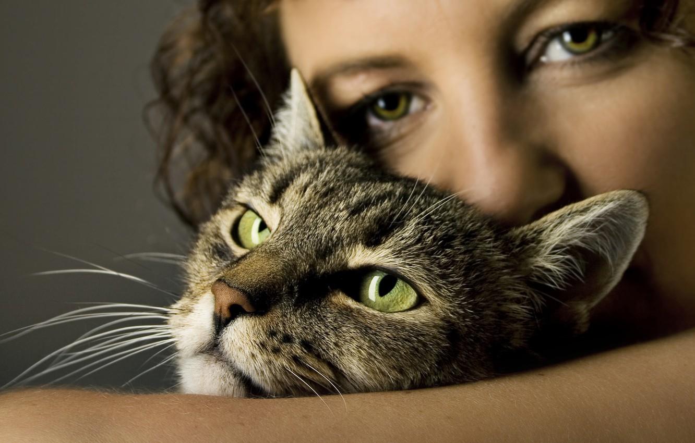 Photo wallpaper woman, cat, heads