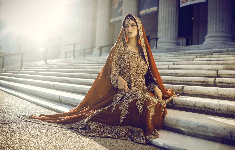 Photo wallpaper girl, pose, sitting, saree