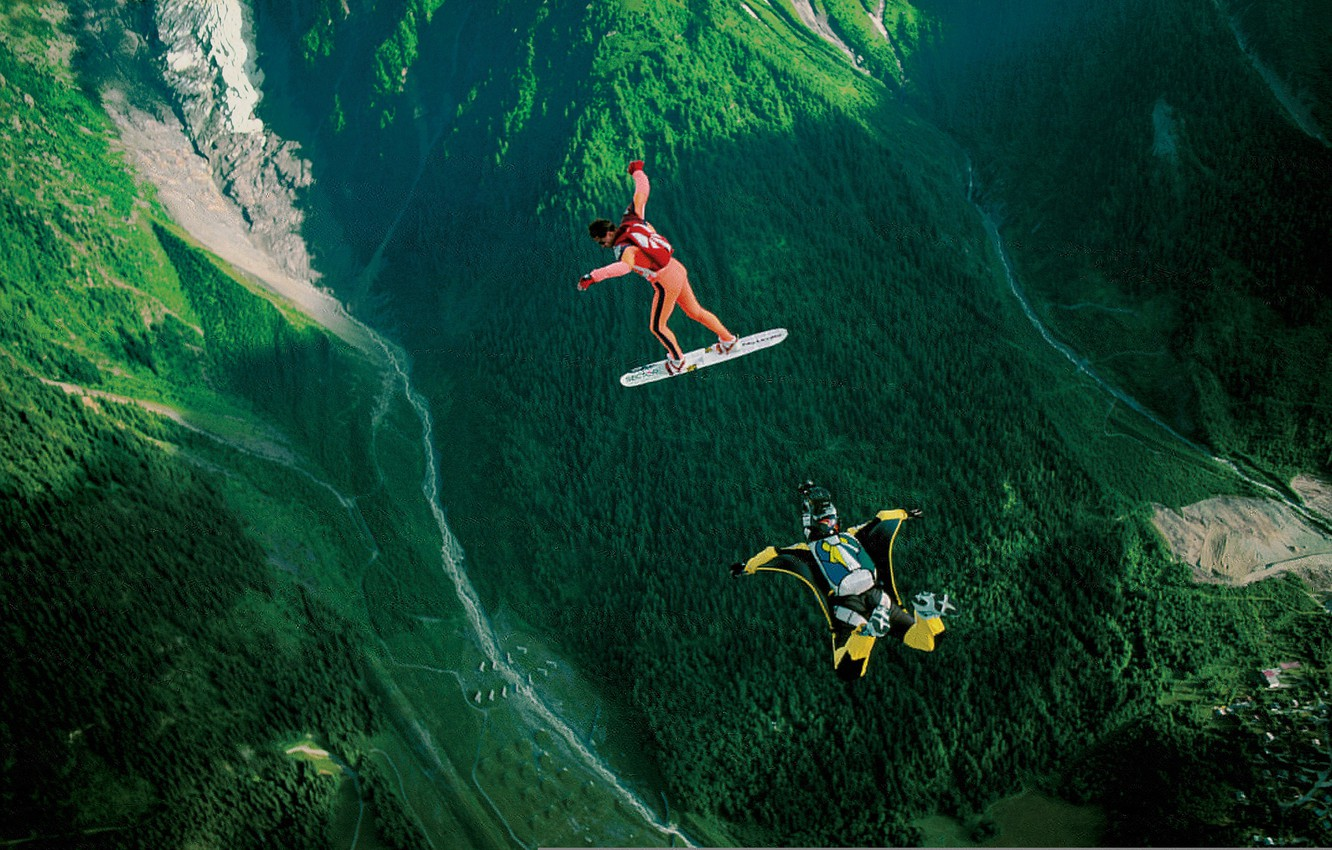 Photo wallpaper mountains, valley, parachute, container, skydivers, extreme sports, parachuting, skysurfing, camera flyer