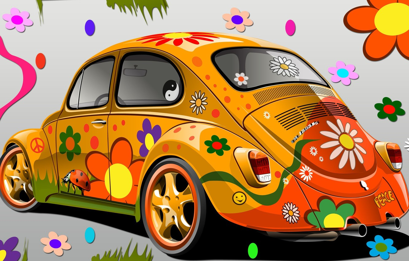 Photo wallpaper flowers, the world, glamour, VW 1303, Super Beetle
