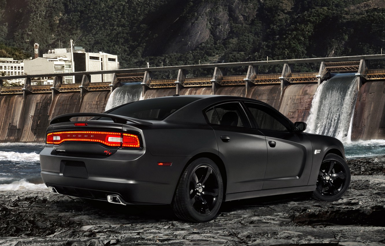 Photo wallpaper water, black, dam, Dodge, rear view, dodge, charger, fast and furious 5, special version, the …