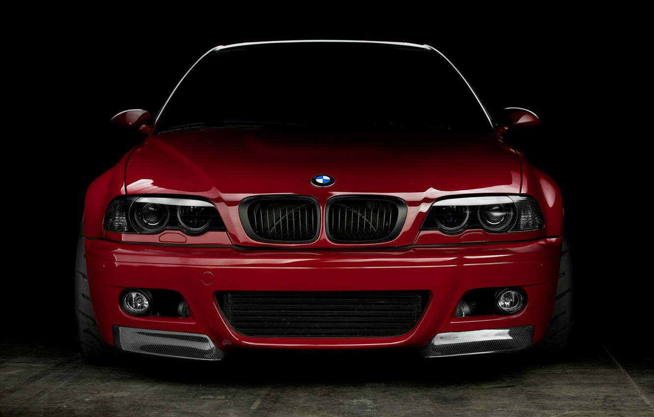 Photo wallpaper red, reflection, bmw, BMW, coupe, red, the front, e46