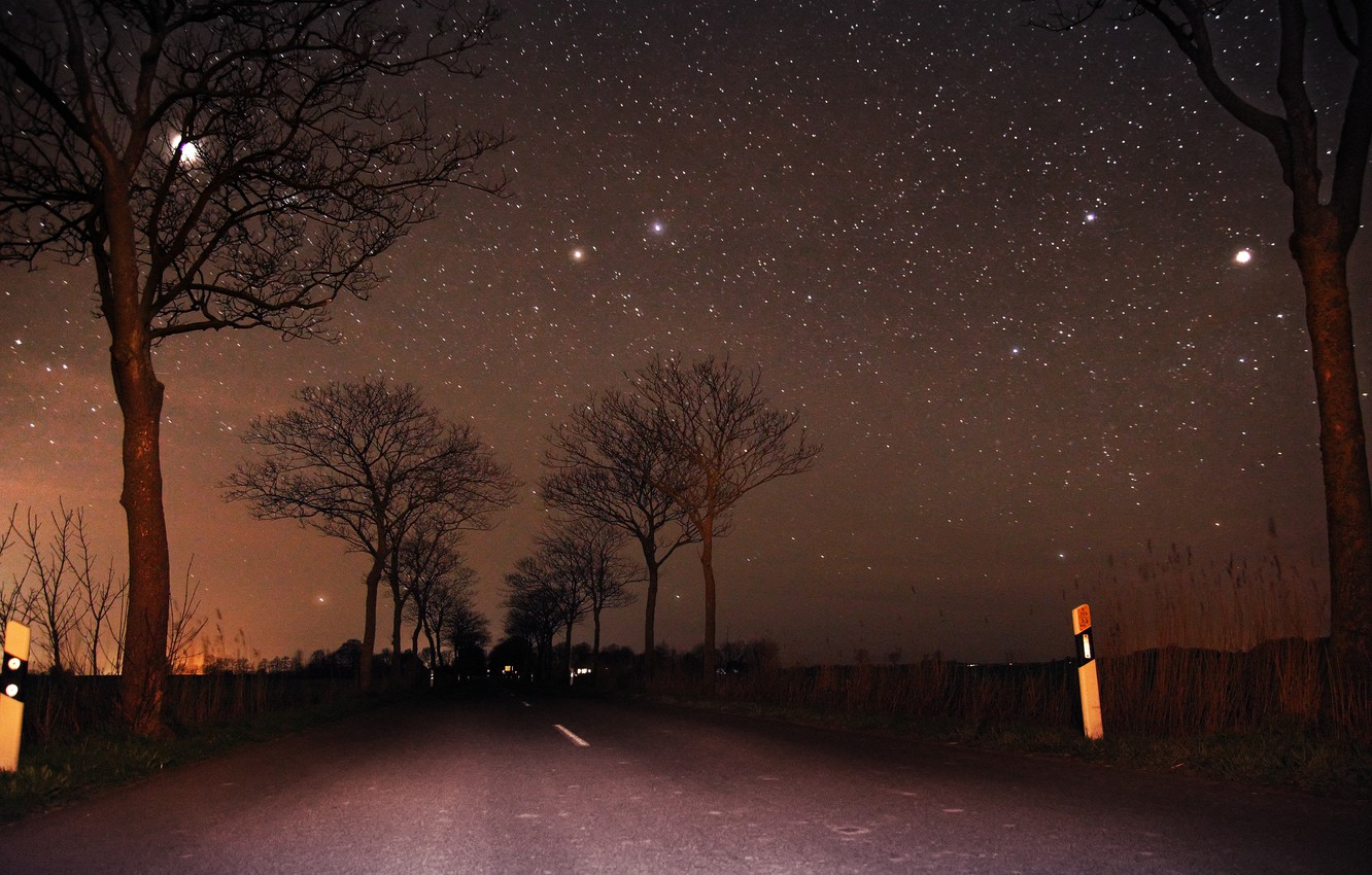 wallpaper road the sky trees the moon stars night moon road sky trees night stars images for desktop section priroda download wallpaper road the sky trees the