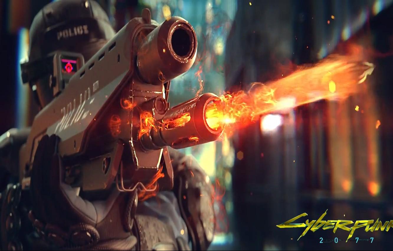 Photo wallpaper weapons, fire, the game, police, helmet, cyberpunk, police, shoots, Cyberpunk 2077