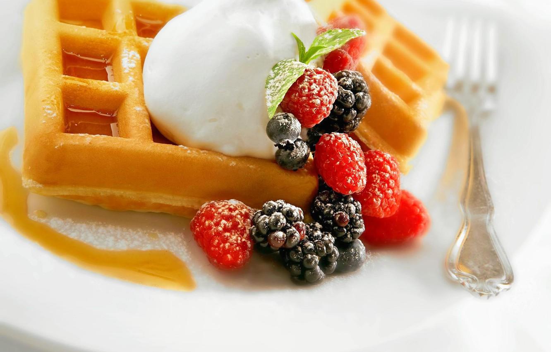 Photo wallpaper raspberry, food, blueberries, cake, cream, dessert, food, BlackBerry, sweet, cream, dessert, blueberries, blackberries, raspberries, waffles