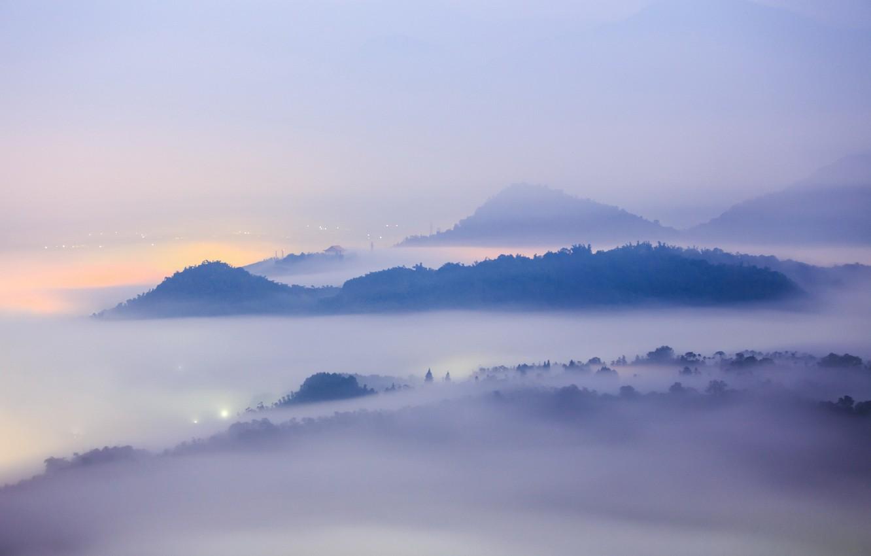 Photo wallpaper landscape, mountains, the city, fog