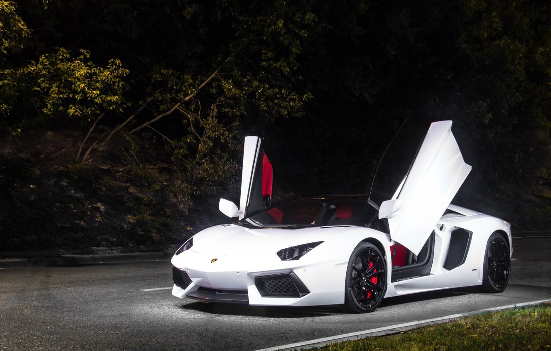 Photo wallpaper white, wheels, lamborghini, tuning, power, front, face, italy, aventador, LB834