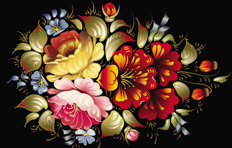 Photo wallpaper flowers, the dark background, pattern, texture