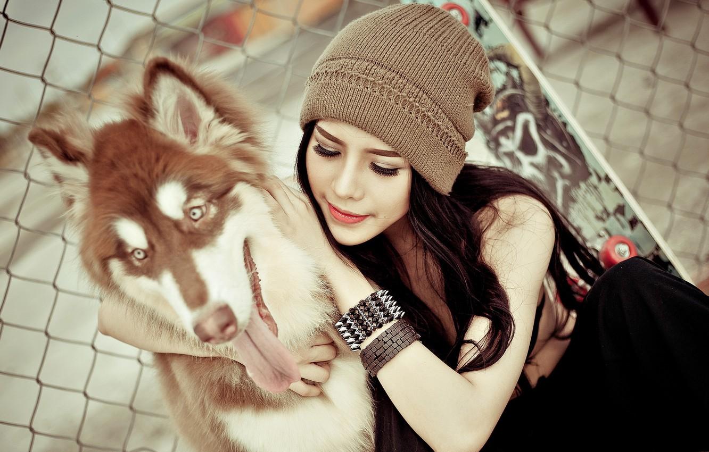 Photo wallpaper girl, mood, dog