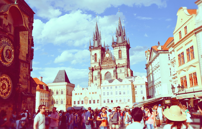 Photo wallpaper trees, nature, the city, river, view, building, home, Czech Republic, tower, beautiful, panorama, bridges, Prague, …