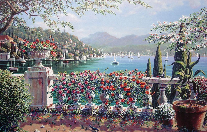 Photo wallpaper flowers, the city, lake, roses, Italy, sail, painting, Italy, Bob Peyman, Bellagio, Bob Pejman, lake …