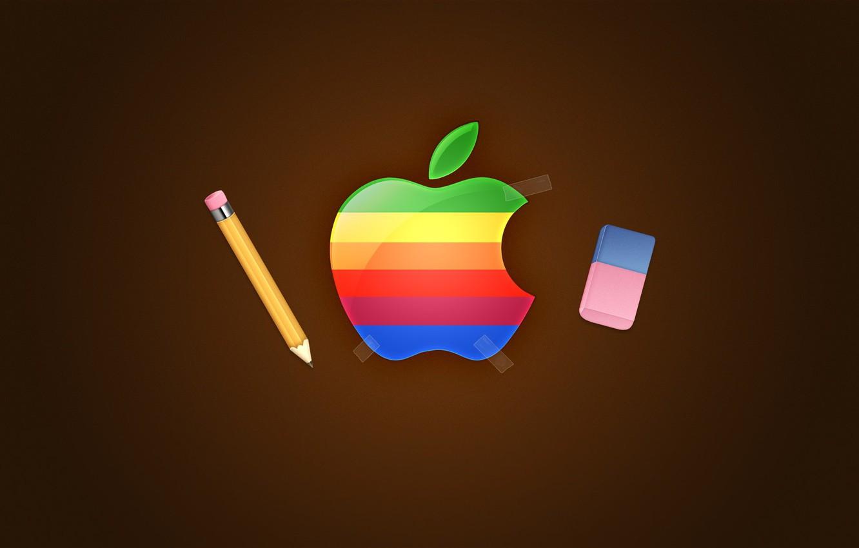 Photo wallpaper Apple, logo, pencil